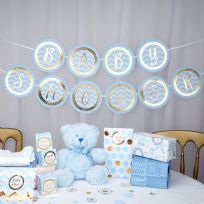 Pattern Works Blue Baby Shower Bunting